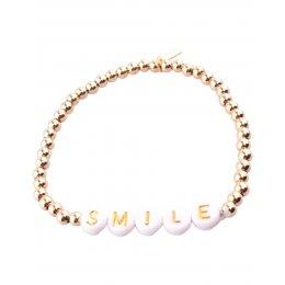 Bracelet acier perles dorées Smile