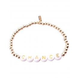 Bracelet acier perles dorées Chance
