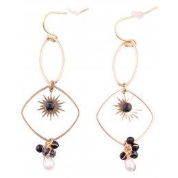 Boucles d'oreilles LOL acier doré Descente solaire perles noires