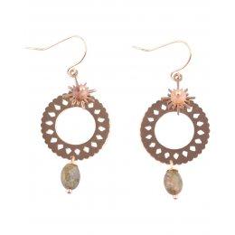 Boucles d'oreilles acier coupole doré pierre kaki Lolilota