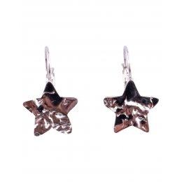 Boucles d'oreilles acier argent étoiles ciselées