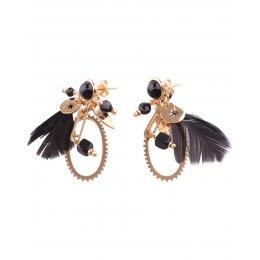 Boucles d'oreilles acier doré plumes noires Ovalio