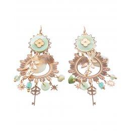 Boucles d'oreilles acier clé dorées et vertes