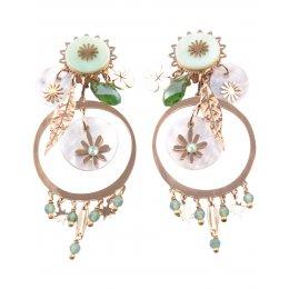 Boucles d'oreilles acier fleurs et trefle dorées et vertes