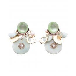 Boucles d'oreilles acier et nacre fleur coeur strass dorées et vertes