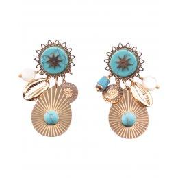 Boucles d'oreilles dorées goutte pierre turquoise