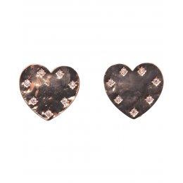 Boucles d'oreilles dorées coeur strassé