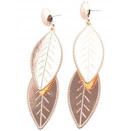 Boucles d'oreilles pendantes feuille doré