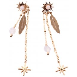 Boucles d'oreilles pendantes acier étoile et plume