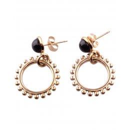 Boucles d'oreilles acier doré pierre onyx