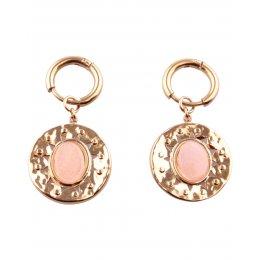 Boucles d'oreilles acier doré ovale quartz rose