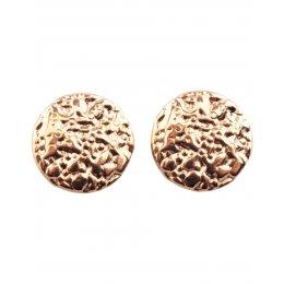 Boucles d'oreilles rondes acier doré à clips
