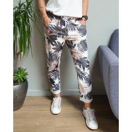 Pantalon fluide blanc feuillages noir et beige