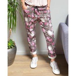 Pantalon fluide noir têtes de mort et fleurs blanches et roses