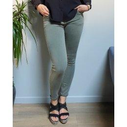 Pantalon slim kaki délavé taille haute