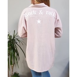 Chemise longue rock and roll rose rayures blanches