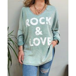 T-Shirt oversize Rock and Love vert effet délavé