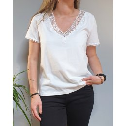 T-shirt blanc manches courtes col V à broderies