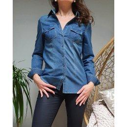 Chemise en coton jeans col pois dorés