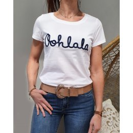 T-Shirt blanc Oohlala marine