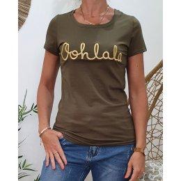 T-Shirt kaki Oohlala doré