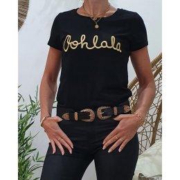 T-Shirt noir Oohlala doré