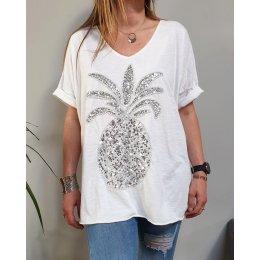 T-Shirt oversize blanc ananas à sequins argent