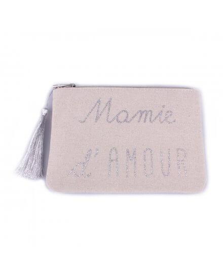 Pochette LOL Beige paillet/ée Mamie damour Noir et Pompon