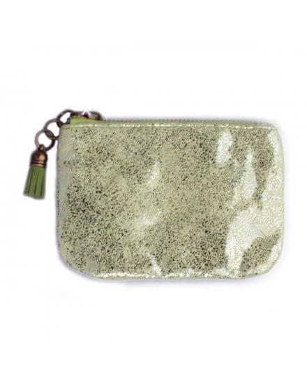 Porte-monnaie vert pailleté Festis