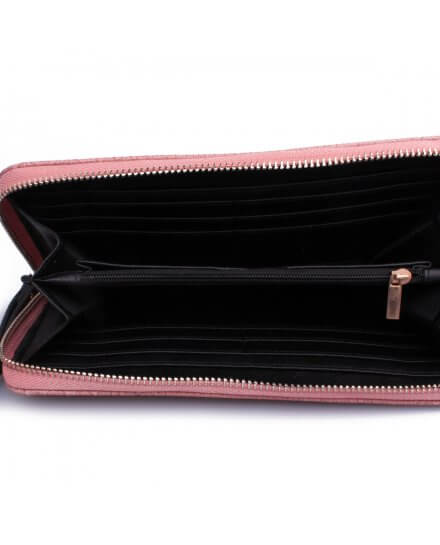 Portefeuille pochette rose croco pompons noirs