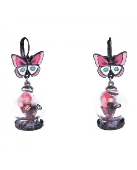 Boucles d'oreilles LOL papillons roses et blancs et bulle de verre