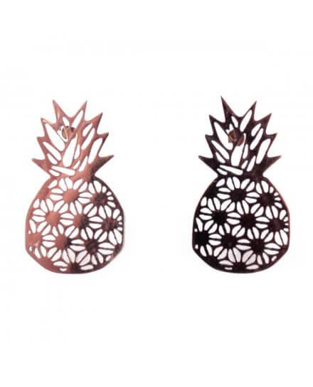 Boucles d'oreilles acier cuivré ananas graphiques