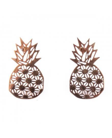 Boucles d'oreilles acier doré ananas graphiques