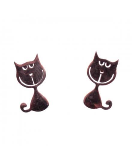 Boucles d'oreilles acier cuivré petits chats