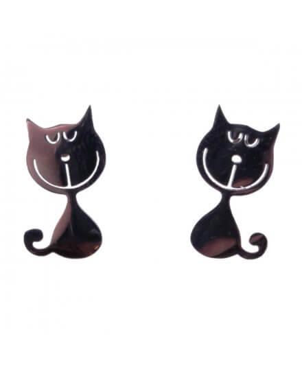 Boucles d'oreilles acier argent petits chats