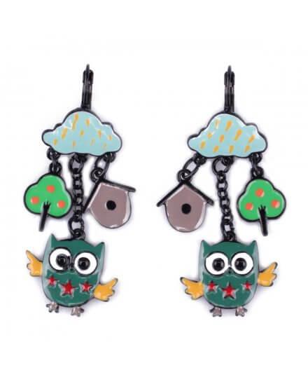 Boucles d'oreilles LOL hiboux verts et nuages