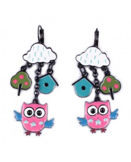Boucles d'oreilles LOL hiboux roses et nuages