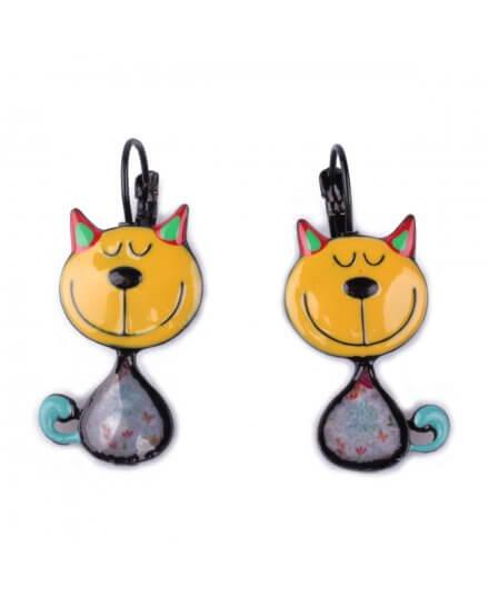Boucles d'oreilles LOL chats jaunes sourire