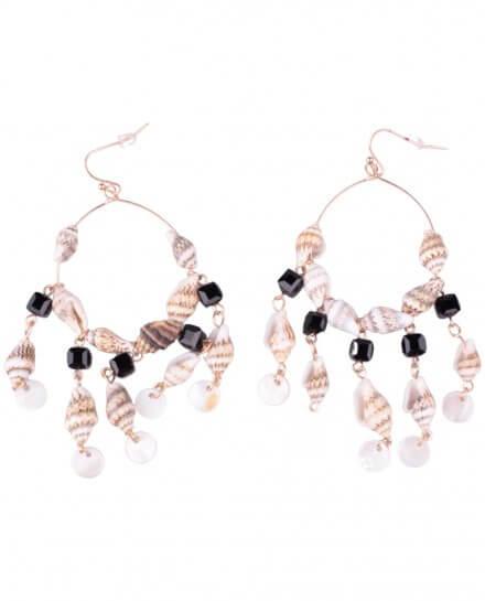 Boucles d'oreilles LOL Anneaux dorés de coquillages et perles noires et blanches