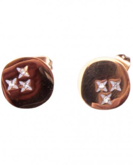 Boucles d'oreilles MILE MILA Pastille acier doré à étoiles strass
