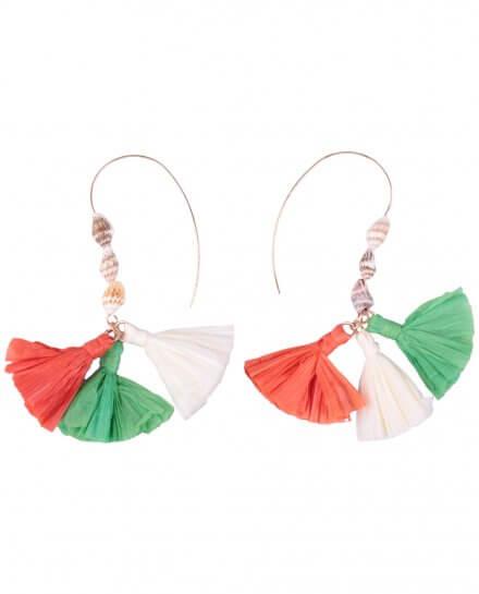 Boucles d'oreilles LOL Descente coquillages et pompons de crepon vert blanc orange