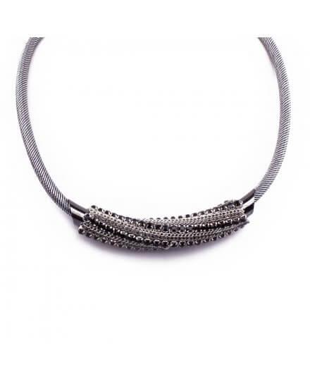 Collier Cylindre vrillé gris argent strass noirs