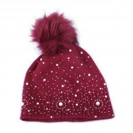 Bonnet rouge bordeaux à pompon perles et strass