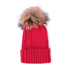 Bonnet rouge à pompon marron et noir