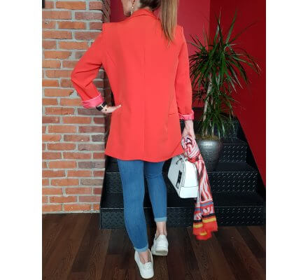 Veste tailleur unie orange