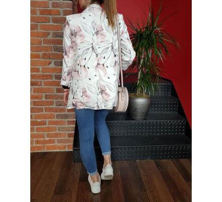 Veste tailleur blanche motifs fleuris roses mauves