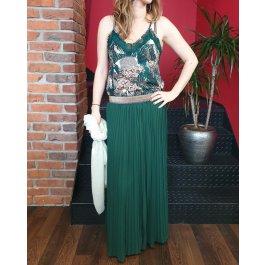 Jupe longue plissée verte élastique pailleté multicolore