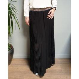 Jupe longue plissée noire élastique pailleté multicolore