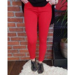 Pantalon rouge skinny taille haute