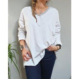 T-Shirt oversize col V argenté-Blanc